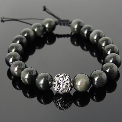 Men's Black Obsidian Dragon Glass Carved Silver Bead Handmade Braided Bracelet