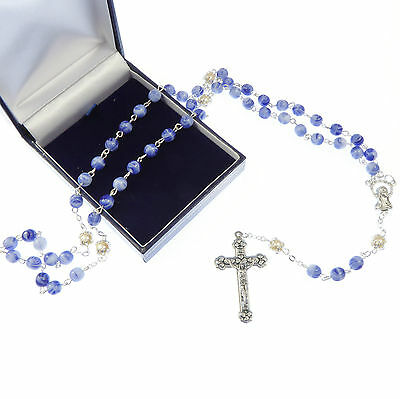 Blue marble effect glass rosary beads + pearl bead + gift box Catholic