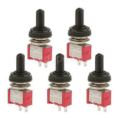 5pcs On Off Mini Toggle Switch SPST Miniature + Waterproof Cover 2P Red