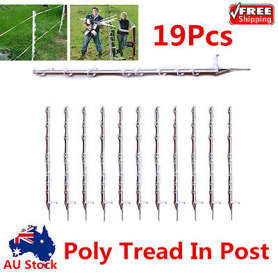 19X Tread In Poly Post For Electric Fence Wire Tape Insulated Strip Fencing