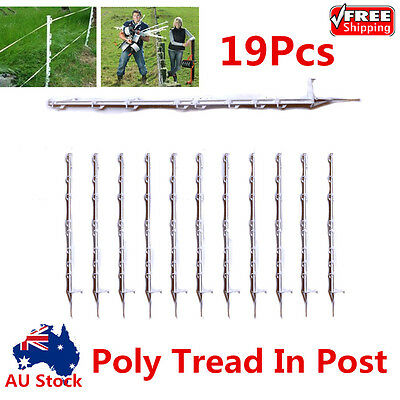 19x Tread In Poly Posts For Electric Fence Wire Tape Insulated Strip Graze Temp