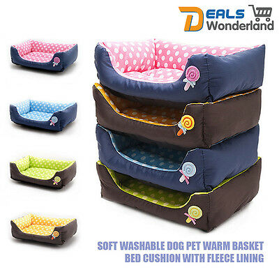 Dog Pet Warm Soft Washable Basket Bed Cushion With Fleece Lining