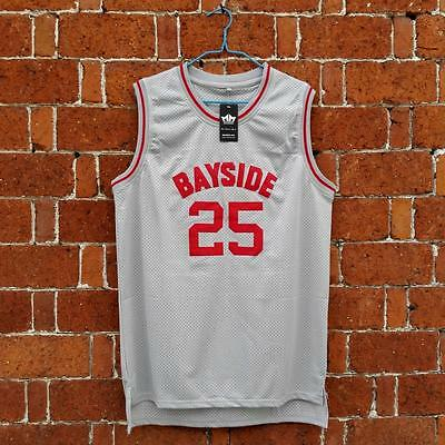 Zack Morris #25 Bayside Tigers Basketball Jersey Saved By The Bell Gray S-3XL