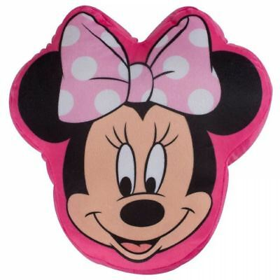 Disney Minnie Mouse Makeover Head Shaped Cushion Plush Pink Pillow Girls Bedroom