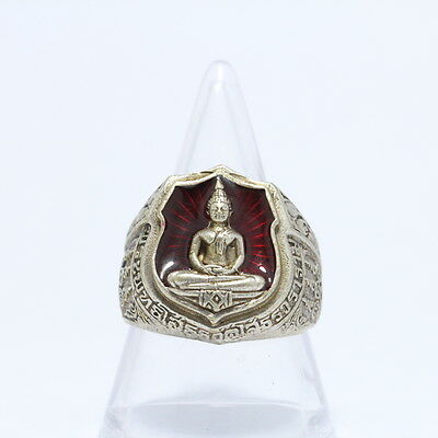 Thai Ring amulet LP Sothorn Brass plated silver,red background.