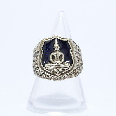 Thai Ring amulet LP Sothorn Brass plated silver,Blue background.