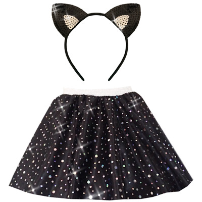 Girls BLACK Sequin Satin Skirt WITCHES CAT Halloween Costume Accessories