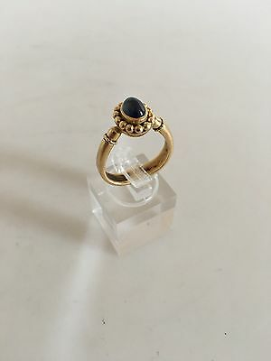 Georg Jensen 18K Gold Ring #81 with Blue Saphire