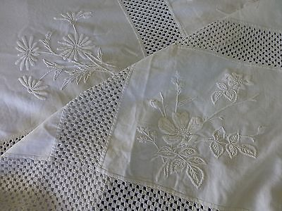 Antq hand embroidered linen crochet lace bedspread rustic country cottage style