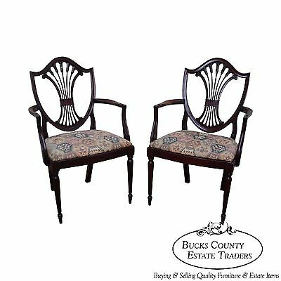 Charak Pair of Solid Mahogany Federal Style Shield Back Arm Chairs