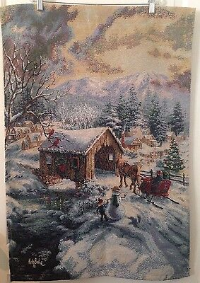 Nicky Boehme Christmas Hanging Tapestry Covered Bridge Village Snowman 24x35
