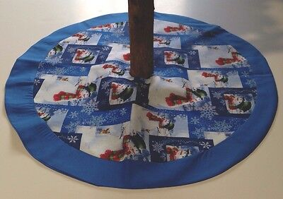 "Winter Tabletop Tree Skirt – 20"" – Snowflakes And Snowman – Custom-Made"