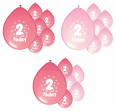 8 x 2ND BIRTHDAY GIRL/ AGE 2 GIRL PINK AND BABY PINK BIRTHDAY BALLOONS (PA)