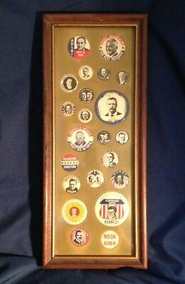 Framed Vintage Reproduction PRESIDENTIAL Buttons Campaign Roosevelt Kennedy