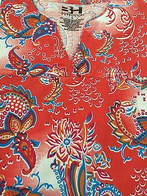 Plus Sized Printed Medical Nursing Scrub Top Orange Paisley Sizes 3Xl 4Xl 5Xl