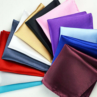 Quality Mens boys Silk Satin Pocket Square Hanky Wedding Party Handkerchief