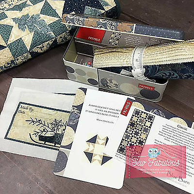 Moda Collectable Quilt Kit Frivol in Blue Barn print 100% Cotton Table Runner