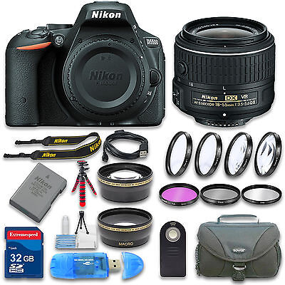 Nikon D5500 DSLR Camera (Black) with AF-S 18-55mm VR AF-P Lens and Accessories