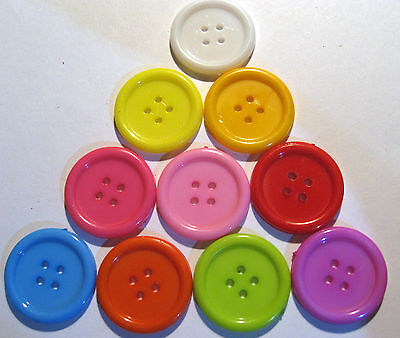 10 x Large Mixed Colour 4-Hole Plastic Buttons 22mm Wide (SB6H)