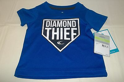 "NWT Carters infant boys short sleevet blue shirt "" Dimond Thief "" sz 3m"