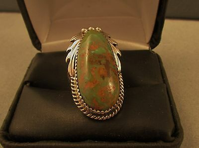 Southwest  Green  Turquoise  Ring  Size  6   S Ray Sterling