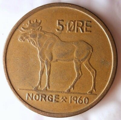 FREE SHIPPING Excellent Vintage Coin 1962 NORWAY 5 ORE Norway Bin #4