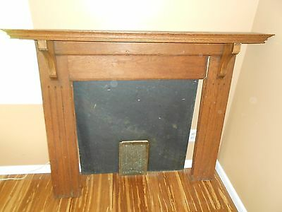 19th CENTURY OAK FIREPLACE MANTLE w/ SLATE & Brass Plated Vent.