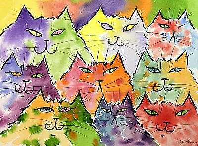 Original Watercolor Painting Of Whimsical Colorful Cats By Drew Strouble