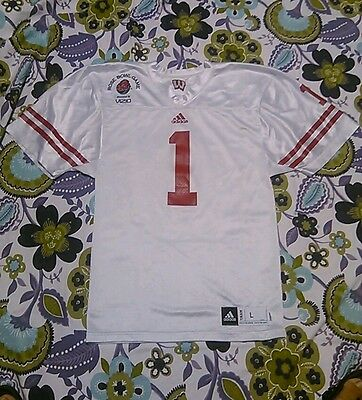 Wisconsin Badgers Football Jersey Adidas Rose Bowl Sz Youth Lg Red White  Cross 1 228baf6d3