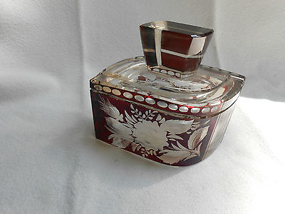 Ruby Cut to Clear Perfume bottle 4 inches wide 5 inches tall