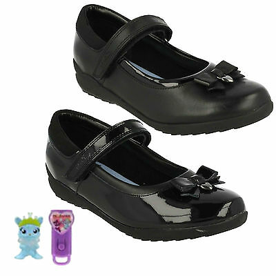 afb81c0be40 Ting Fever Girls Riptape Strap Leather Bow Detail Mary Jane School Shoes  Clarks