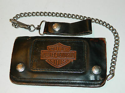 vintage HARLEY DAVIDSON CYCLES USA porte monnaie CUIR Leather Motorcycle Purse