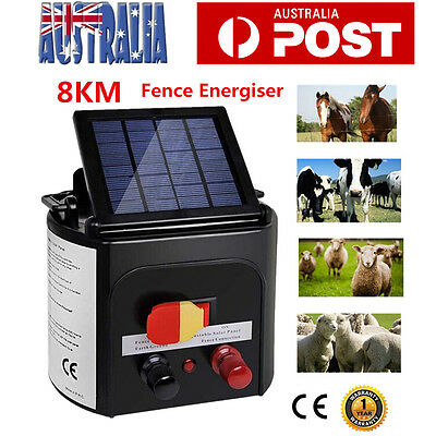 8km Solar Electric Fence Energiser Power Charger 0.15J Farm Poly Wire Insulator