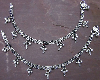 Fine German Silver Handmade Anklet Pair Chain Charm Girls Womens Foot Jewelry