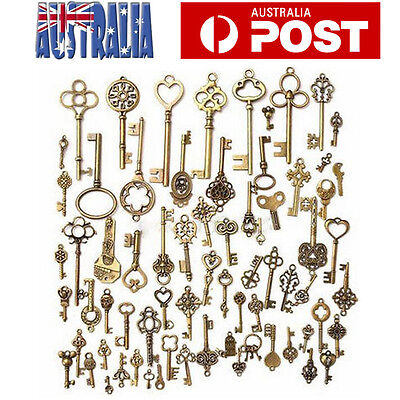 70Pcs/Lot Bronze Keys Vintage Antique Old Look Skeleton Heart Bow Pendant