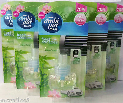 6 x AMBI PUR Car Air Freshener JAPAN TATAMI Refill Refills Work in Febreze Unit