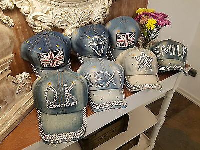 Glitzer Jeans - Capy/Jeans Baseball Cap Kappe mit Strass verschiede Muster