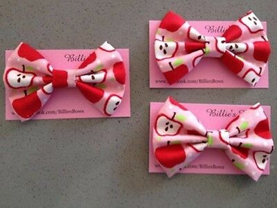 Oobi Apple Fabric Large Bow By billies Bows