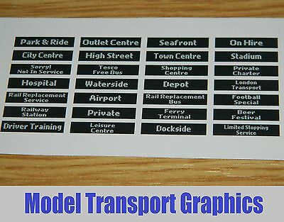 Digital Destination Displays Bus Blinds Self Adhesive 1/76 Corgi & UKBUS models