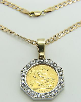 9ct 9Carat Yellow Gold Curb Chain & 22ct Elizabeth II 1982 1/2 Sovereign Pendant