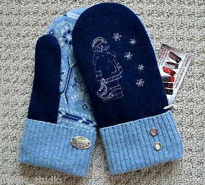 ICE SKATING - 100% Wool recycled sweater MITTENS Embroidered Fleece Lined
