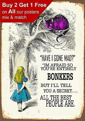 Alice In Wonderland We're All Bonkers - Vintage Poster Print A5 A4 A3 A2 A1 A0