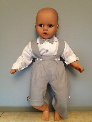 Baby Boy Christening Pageboy Baptism Smart Suit Outfit Linen Grey Dungarees