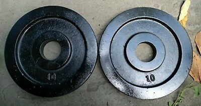 """York Barbell Vintage Olympic 2"""" Weight Plates 10 lb x 2 2x10 lbs"""