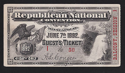 1892 Guest Ticket Republican National Convention Minneapolis