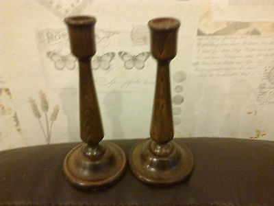 Pair Of Wooden Vintage Candle Sticks 18.5Cm High 8Cm Diam Made Of Oak Very Rare
