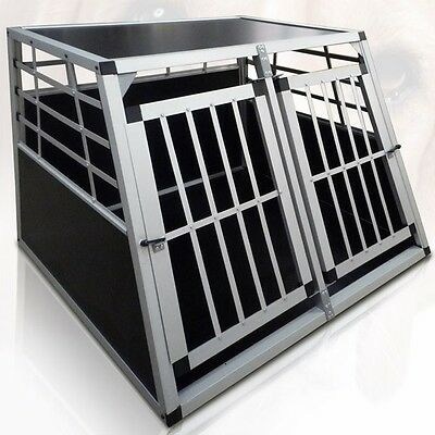 XL Large Dog Car Transport Box Aluminium Travel Cage Carrier Crate Puppy Pet