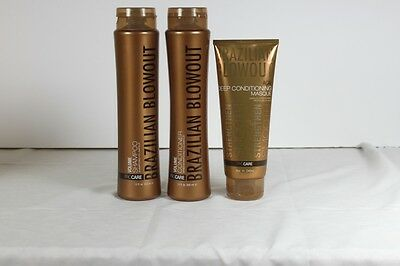 Brazilian Blowout 3 Pack Volume Shampoo, Conditioner, Masque FREE SHIPPING!