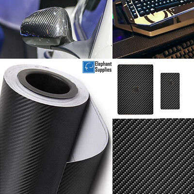 3D 4D Carbon Fibre Vinyl Wrap Self Adhesive Black Multi Sizes Air Bubble Free