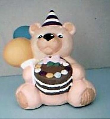 Ceramic Bear with birthday party cake & balloons